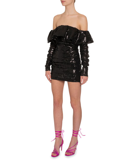 Sequined Off-the-Shoulder Dress