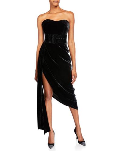 Strapless Velvet Draped-Side Dress