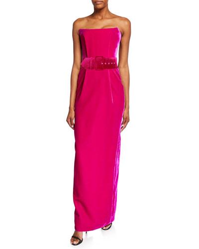Strapless Square-Neck Velvet Dress