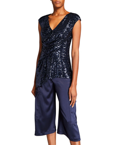 Sequined Draped Front