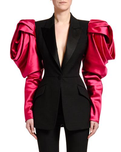 Rose-Sleeve Lightweight Wool Jacket