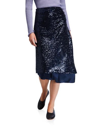 Sequined Asymmetric-Draped Skirt
