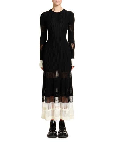 Ottoman-Knit Lace-Inset Dress