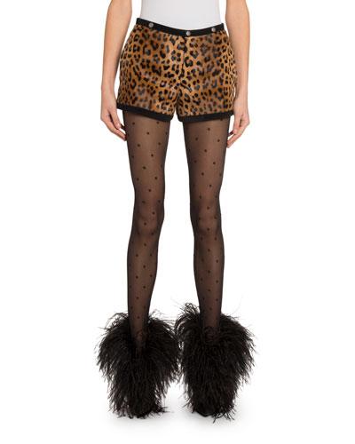 Leopard-Print Goat-Hair Shorts