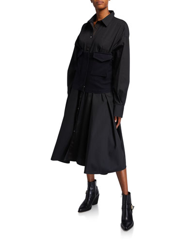 Poplin Shirtdress w/ Detachable Corset  Black/Blue
