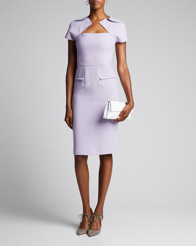 Double-Wool Square-Neck Dress