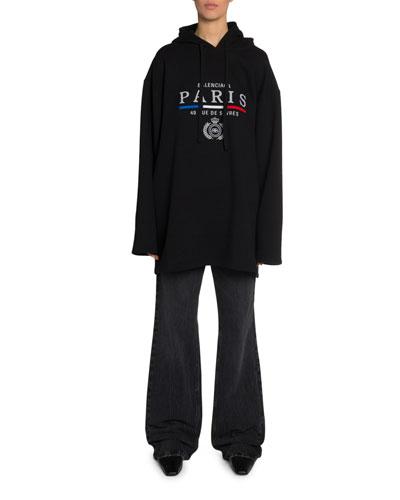 Logo & French Flag Oversized Sweatshirt
