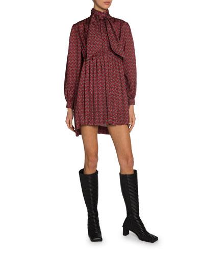 Babydoll Tie-Neck Dress