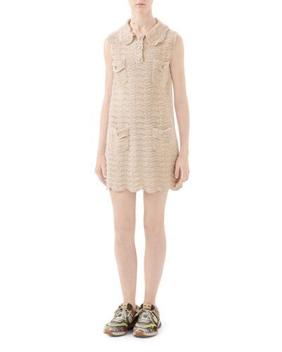 Collared Crochet Wool Dress