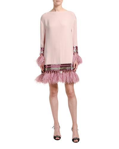 Feather & Sequin Trim Silk Shift Dress