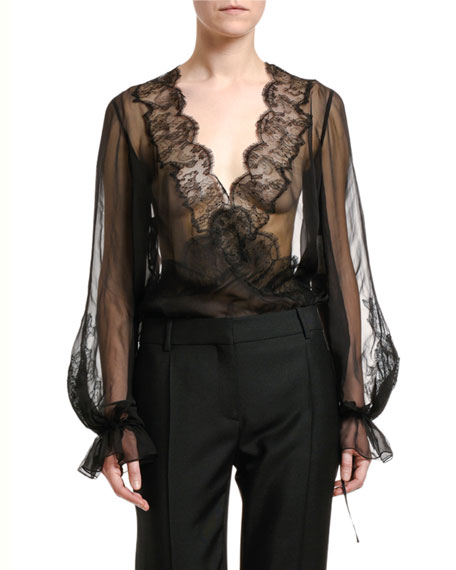 Sheer Silk-Lace Blouse