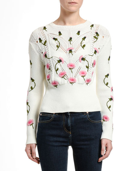 Image 1 of 1: Floral Embroidered Sweater
