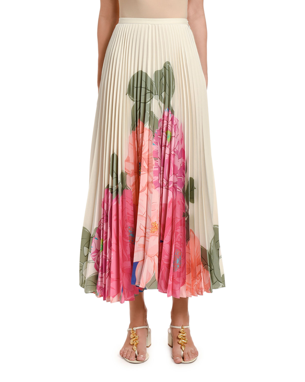 Valentino Skirts FLORAL-PRINT PLEATED MIDI SKIRT