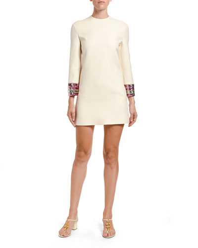 Embroidered-Cuff Dress