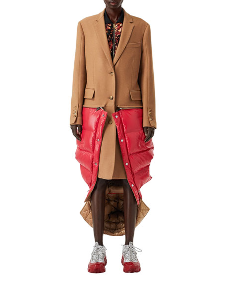 Camel Hair Coat with Detachable Puffer Combo