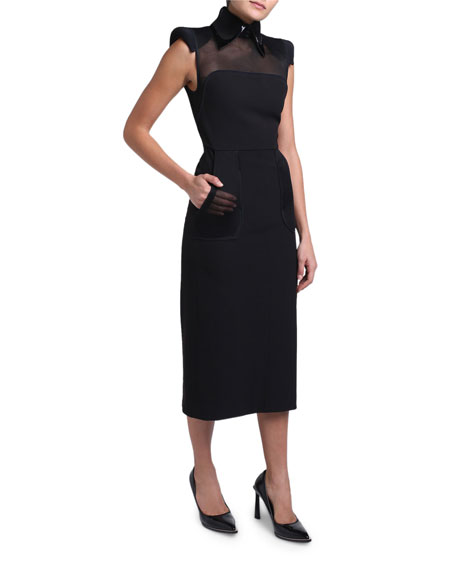 Wool Crepe Leather-Collar Strong-Shoulder Dress