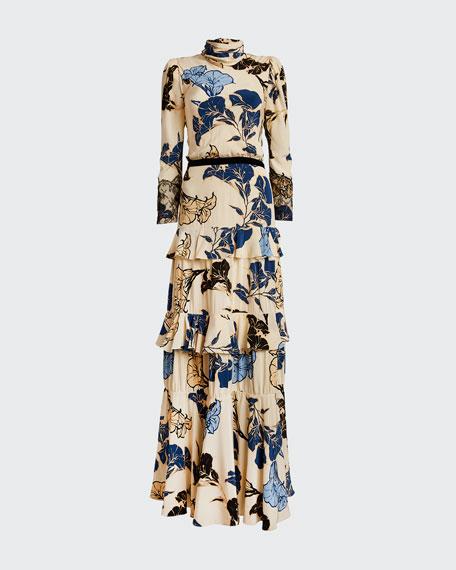 Sheer Decoration Floral Crepe de Chine Tiered Dress