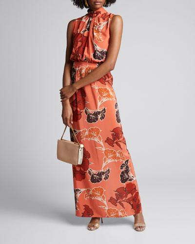 Momentum Floral Silk Crepe de Chine High-Neck Maxi Dress