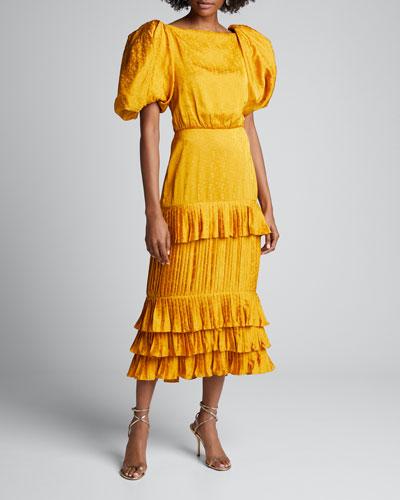 Isolated Treasure Jacquard Puff Sleeve Dress