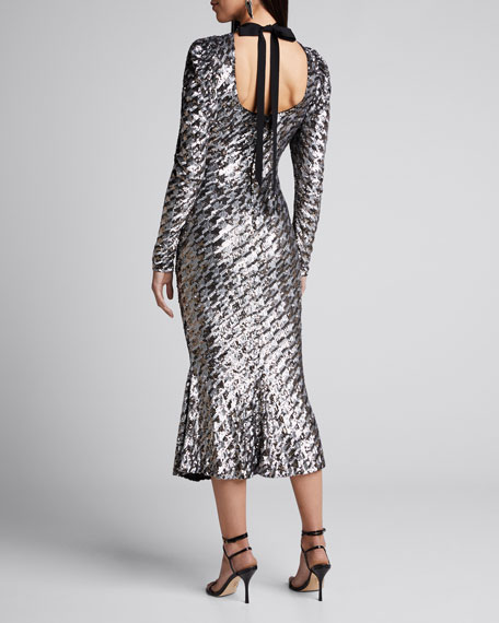 Houndstooth Sequined High-Neck Cocktail Dress