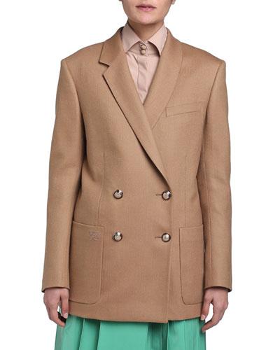 Birdseye Wool Double-Breasted Boyfriend Jacket