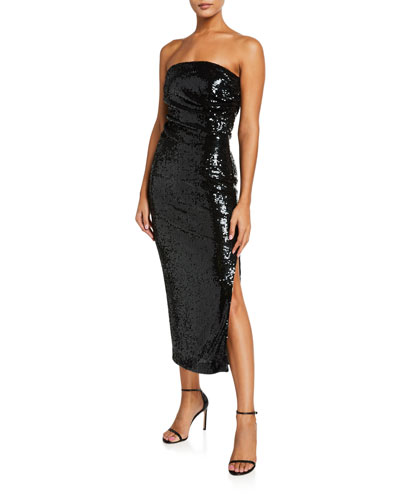 Strapless Sequin Liquid Drape Midi Cocktail Dress