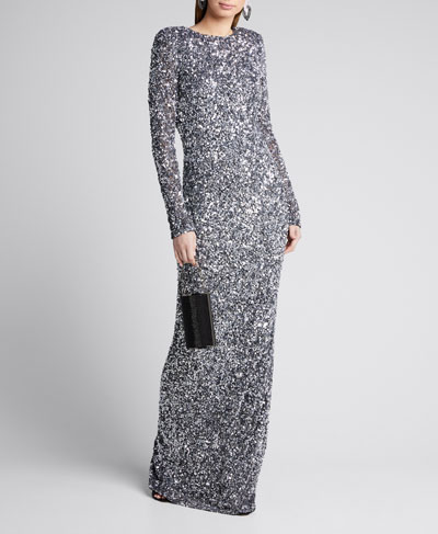 Mixed Sequined Long-Sleeve Column Gown
