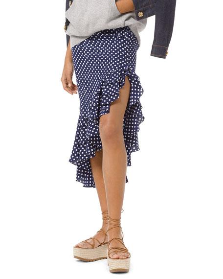 Painterly Polka-Dot Crepe Ruffled Skirt