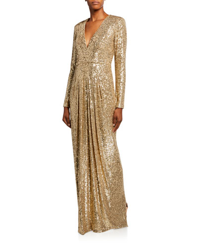 Metallic Sequined V-Neck Sequined