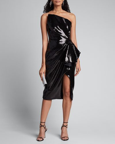 Strapless Liquid Sequin Cocktail Dress