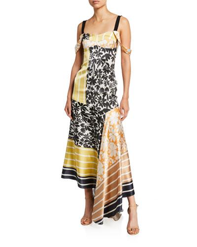 Fabia Floral-Patchwork Silk Cold-Shoulder Dress