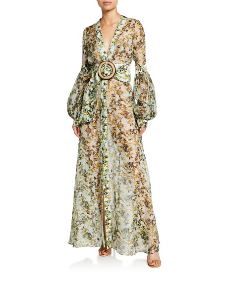 Image 1 of 1: Farolillo Camo-Floral Silk Belted Dress