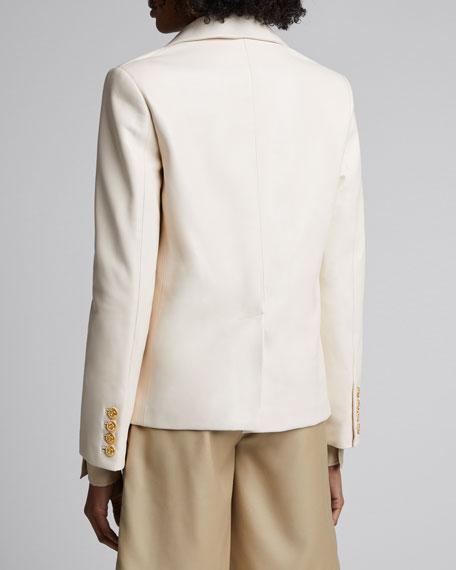 Boxy Double-Breasted Leather Jacket