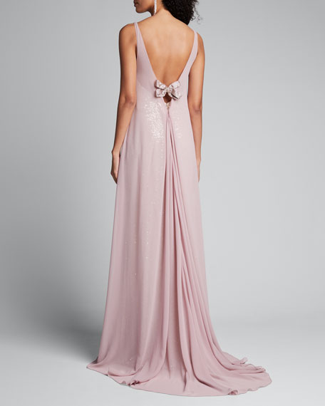 Shimmered Cape Gown