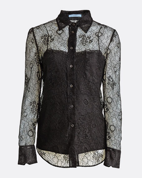 Lace Button-Front Shirt