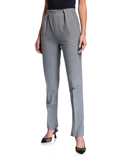 Stretch Wool Asymmetric Tailored Trousers
