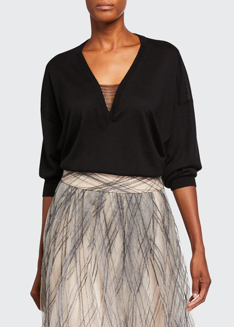 Cashmere-Silk Chained V-Neck Sweater