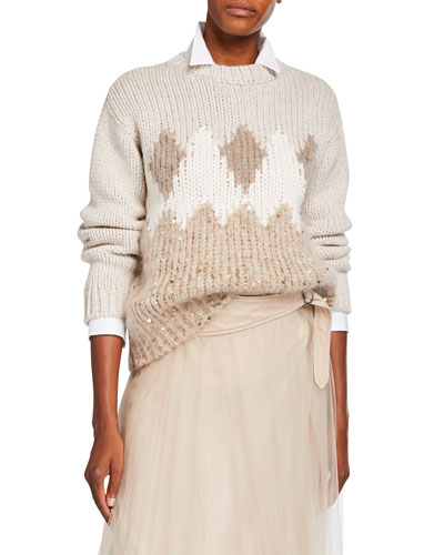 Fair Isle Sequined Wool-Cashmere Sweater
