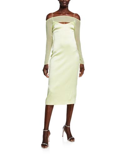 Fluid Satin Strappy Sheer-Sleeve Dress