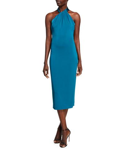 Satin Crepe Halter-Neck Midi Dress