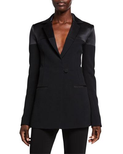 Satin-Panel Cady Jacket