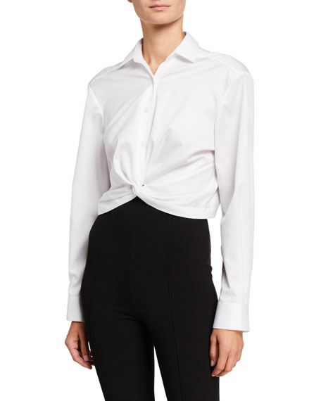 Image 1 of 1: Cotton Poplin Twisted-Front Shirt