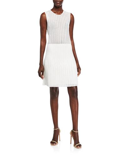 Pleated Knit Mini Dress