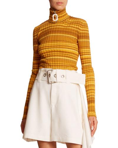 Striped Wool Zip-Turtleneck Sweater