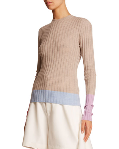 Colorblocked Wool Fitted Sweater