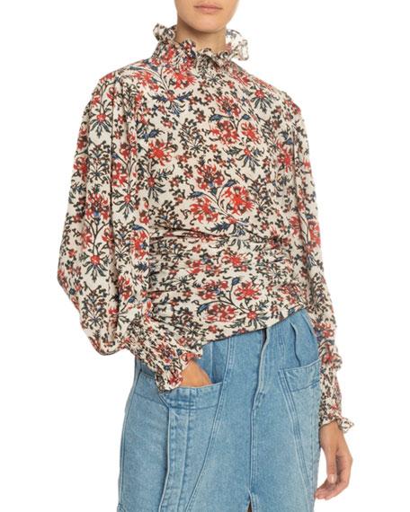 Floral Print Silk Mock-Neck Blouse