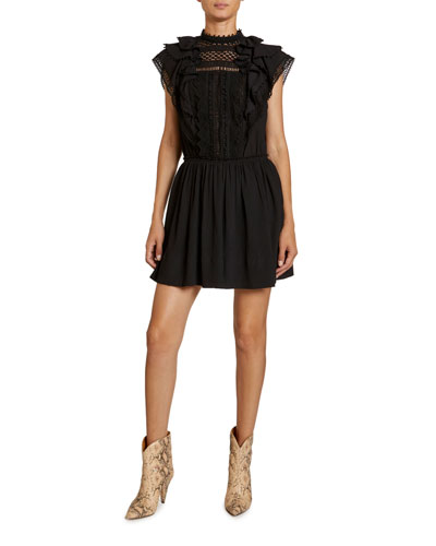 Ruffled Cotton-Silk Lace-Yoke Dress