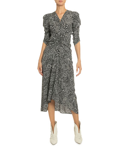 Paisley Print Silk Midi Dress