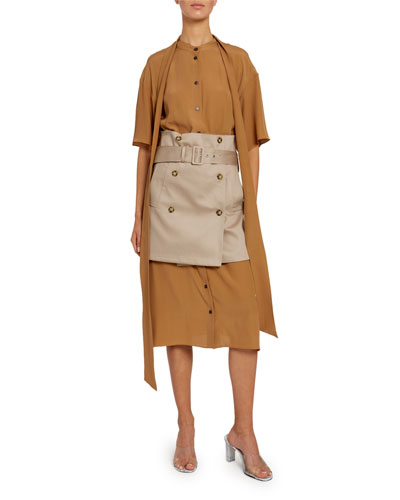 Double-Breasted Corseted Shirtdress
