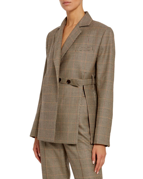 Image 1 of 1: Wool Double-Breasted Tie-Waist Blazer